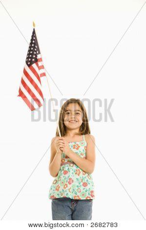 Girl Holding American Flag.