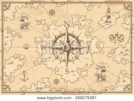 poster of Vintage Monochrome Treasure Map Concept With Navigational Compass Lighthouse Ship Octopus Seashell A
