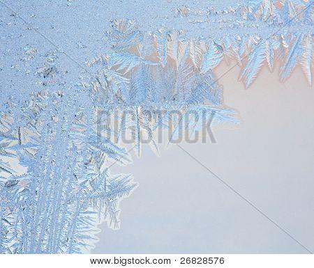 Frosty natural pattern on winter window
