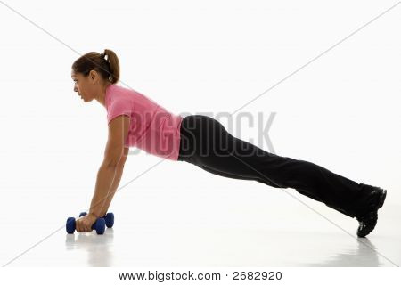Woman Doing Pushups.