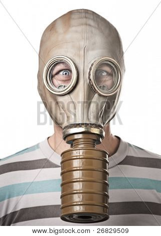 Man in gas mask looking surprised. Isolated on white