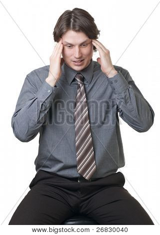 Worried businessman against white background