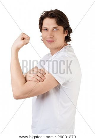 Handsome young man showing his biceps muscular arms and smiling, over white background