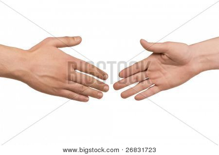 Two male hands about to shake hands, over white background