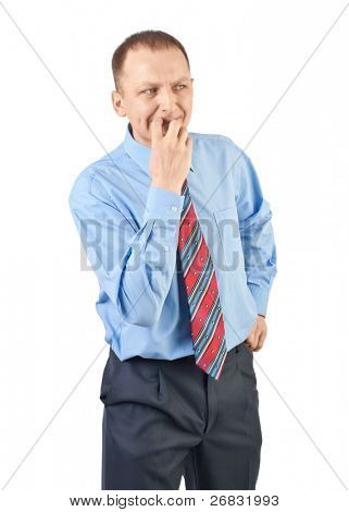 Portrait of worried businessman looking away and thinking, against white background