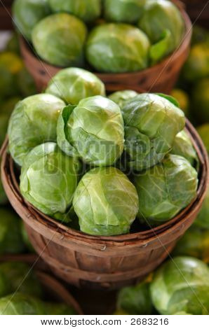 Brussel Sprouts For Sale In A Basket On A Market Stall