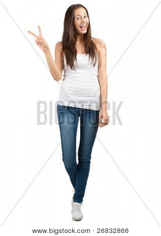 Full length portrait of happy beautiful girl showing victory sign, isolated on white