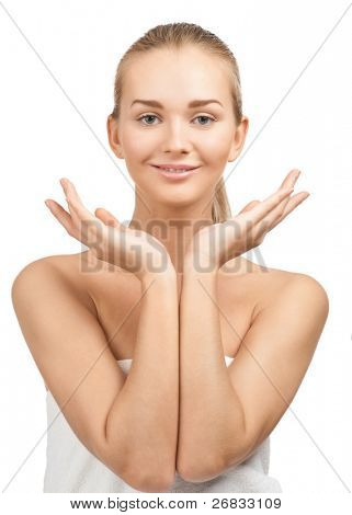 Close-up portrait of beautiful young spa woman, isolated on white background