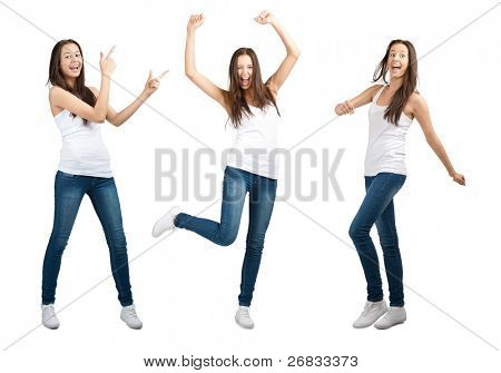 Collage of happy excited young woman with arms extended  in different perspectives. Over white background
