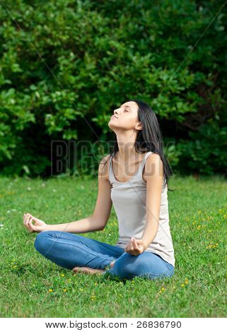 Young beautiful woman doing yoga meditation in park