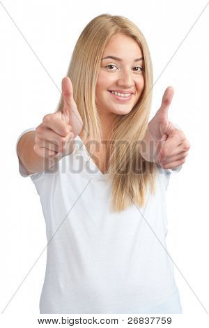 Cheerful young woman in white t-shirt showing thumbs up and smiling, isolated on white background