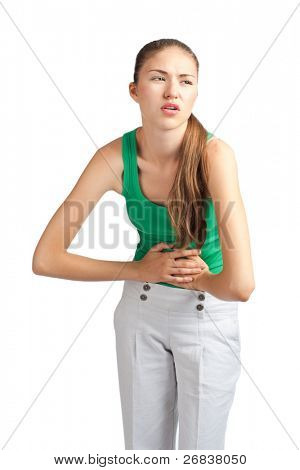 Young caucasian woman wearing casual have a stomach issues, isolated on white background