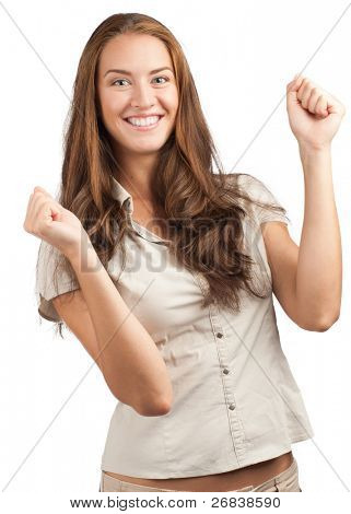 Portrait of happy excited woman with raised arms celebrating her success. Over white background