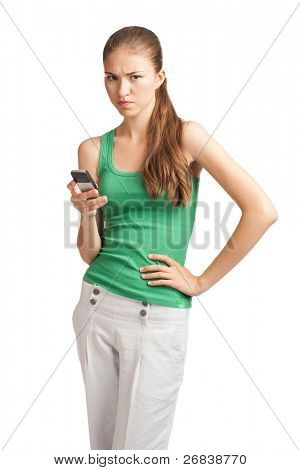 Portrait of upset young woman with mobile phone