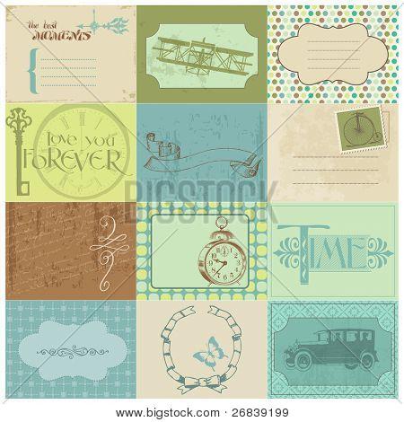 Etiquetas de papel de bloc de notas y elementos de diseño - vendimia