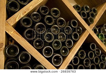 Red wine stored in cellar