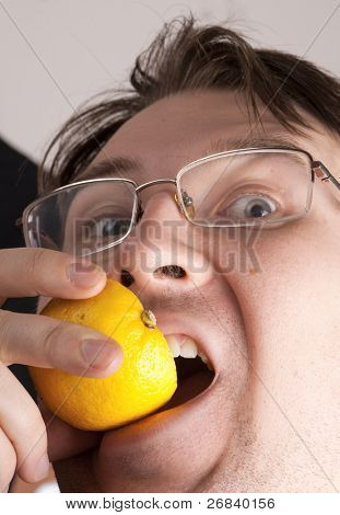 Insane man biting lemon, graphic skin detail. Yes that's me=)