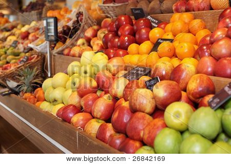Shelf with fruits on farm market