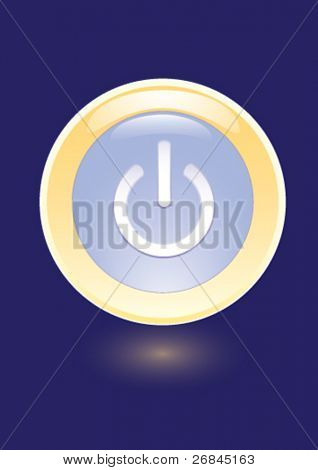 Vector icon with power on sign on blue background