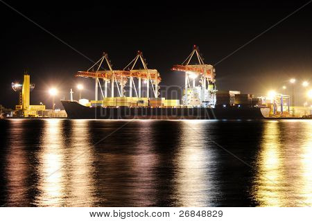 Container cargo ship in port at night