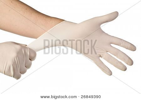 latex free medical gloves on white