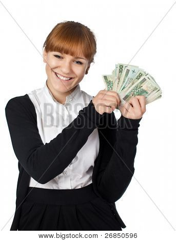 Beautiful girl with a pack of Poland money in a hand