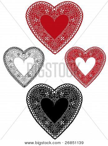 Vintage Lace Heart Doilies