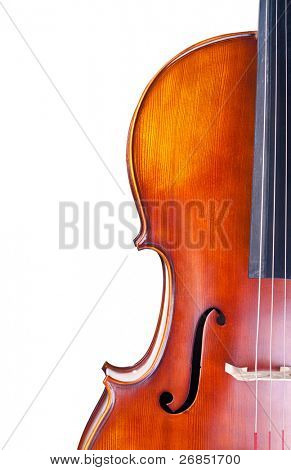Close-up of a classic cello isolated on white background
