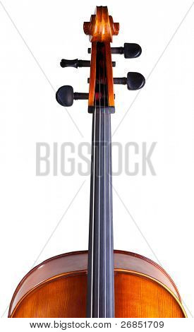 Close-up of a classic cello scroll isolated on white background