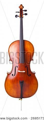 schöne hölzerne Violoncello, isolated on white background