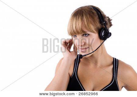 attraktive Operator mit Kopfhörer und ein großes Lächeln! isoliert auf weißem Hintergrund.