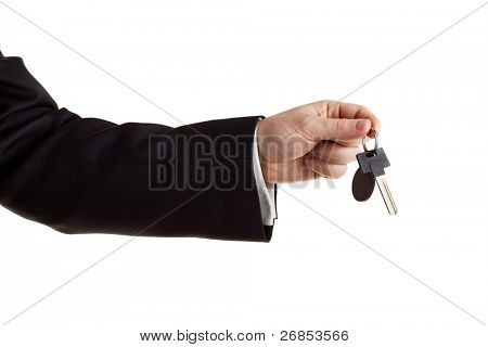 Car keys in hand, isolated on white.