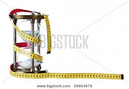 Vintage sand clock and tape measure isolated on white