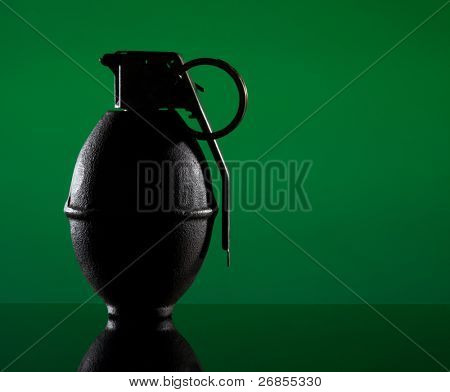 two hand grenades on green background