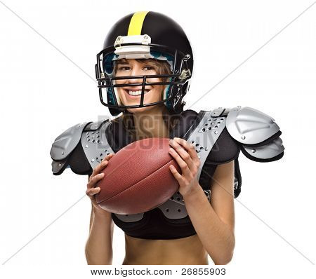 American Football player girl posing with ball