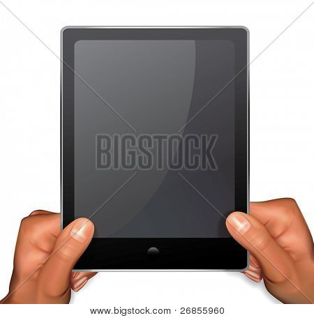 Vector hands holding tablet pc