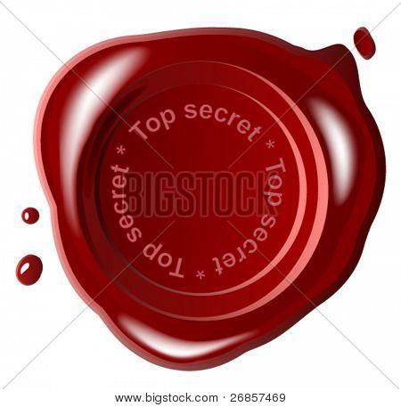 Red wax seal ,vector,top secret