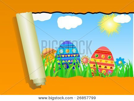 Orange ripped wall paper with Easter Egg -vector