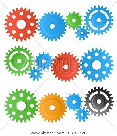 set of colourful gear wheels isolated on white