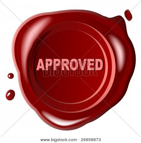Red wax seal with approved stamped across it