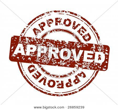 vector approved stamp on a white background