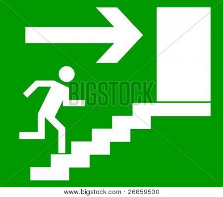 Emergency exit door, sign with human figure on stairs