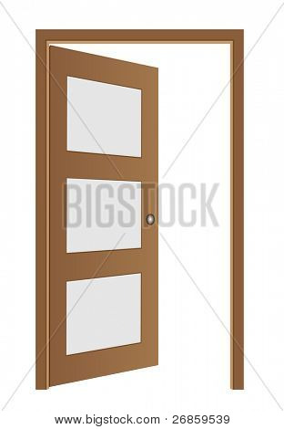 Door opened , classic design with lock, vector