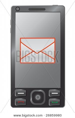 illustration of mobile phone with e-mail sign inside