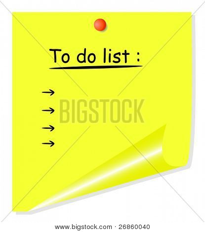 yellow postit with curled corner, isolated