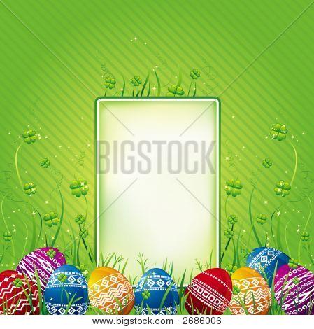 Viele Farbe Ostereier auf grünem Hintergrund