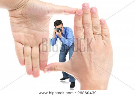 man and hand at white background