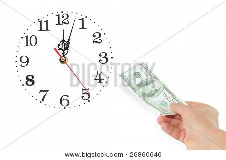 hand with dollar at whitebackground