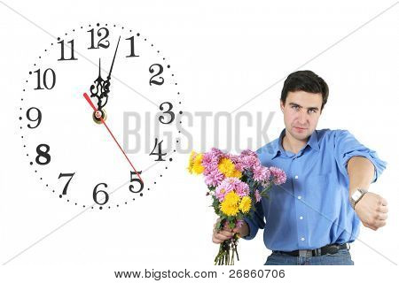 man and bunch of flowers