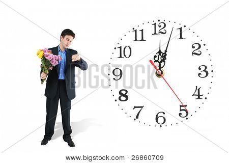 clock and man with bunch of flowers